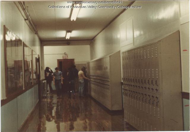 Gilman School students in hallway, Waterville, 1983