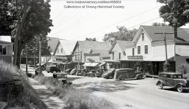 Village viewed from the north, Strong, ca. 1940