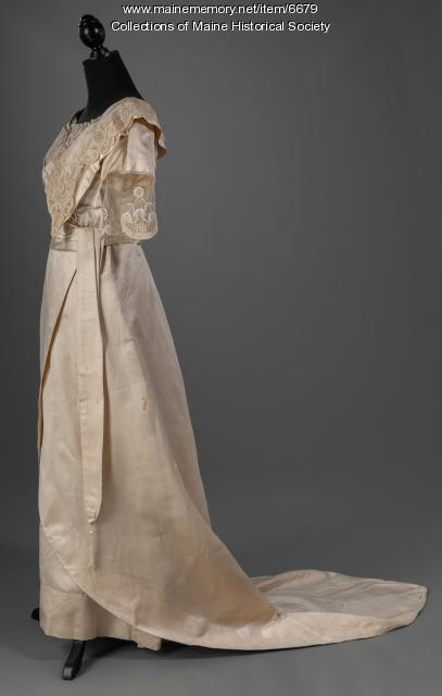 Silk wedding dress, Westbrook, ca. 1912
