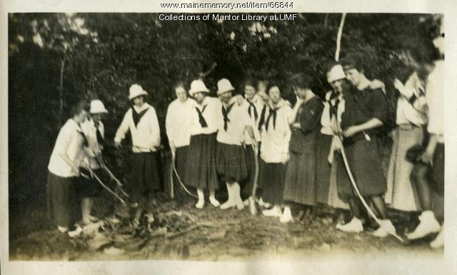 A picnic campfire, Farmington State Normal School, 1918