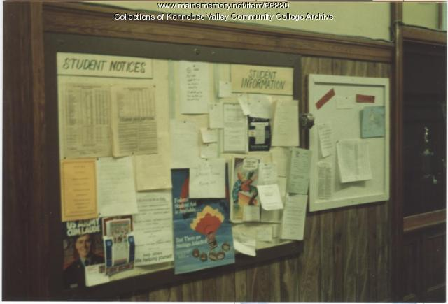 Gilman School bulletin board, Waterville, 1983