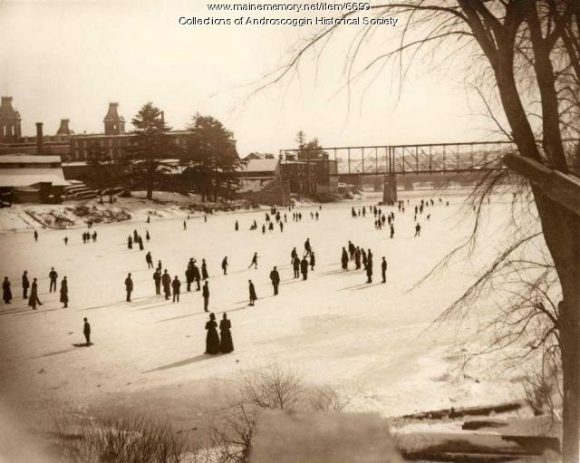 Skating on the Androscoggin River, ca. 1890