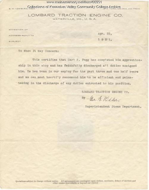 Carlton Fogg's Apprenticeship certification, Waterville, 1921