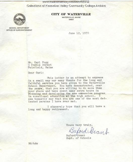 Grant-Fogg Letter of Appreciation, Waterville, 1970