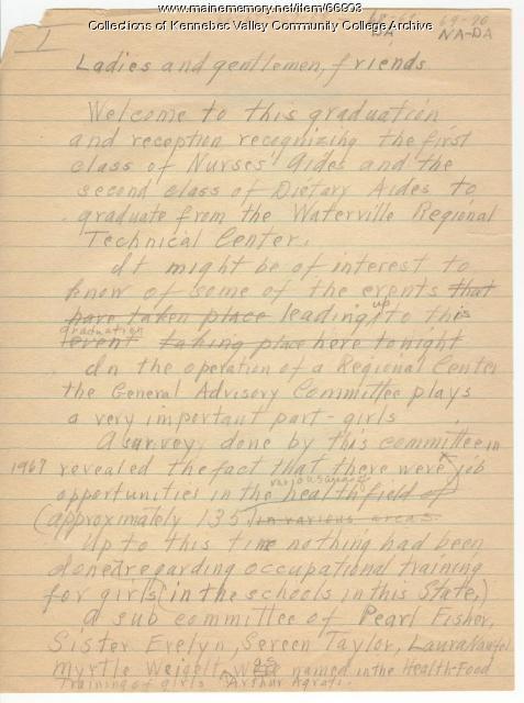 Fogg Commencement Speech, 1970