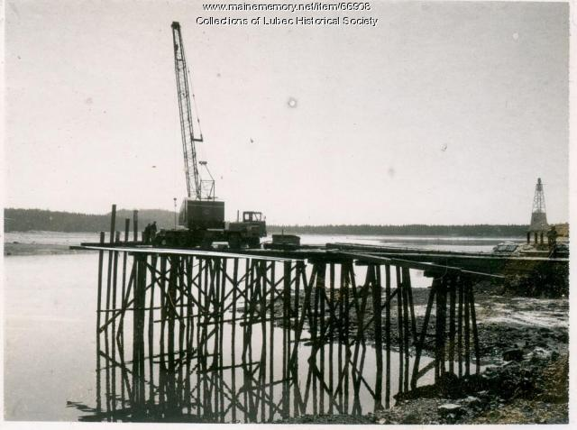 Temporary trestlework for bridge, Lubec, ca. 1961
