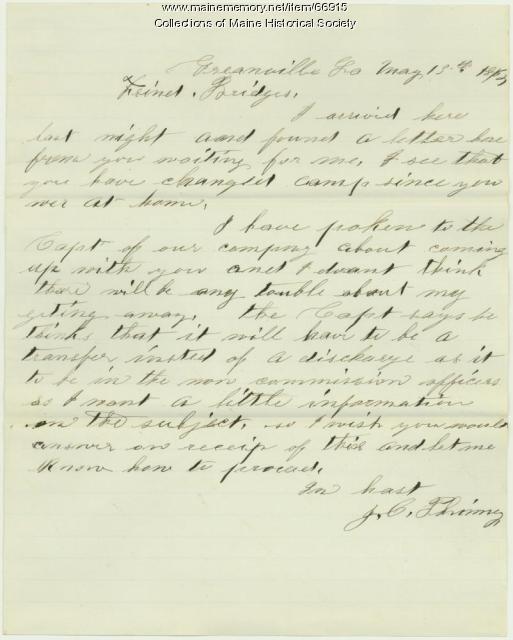 John C. Phinney on desire for transfer, Greenville, LA