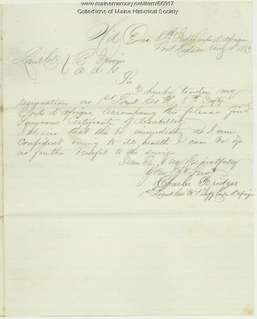 Charles Bridges resignation, Port Hudson, LA, 1863