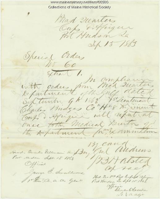 Lt. Charles Bridges examination orders, Louisiana, 1863