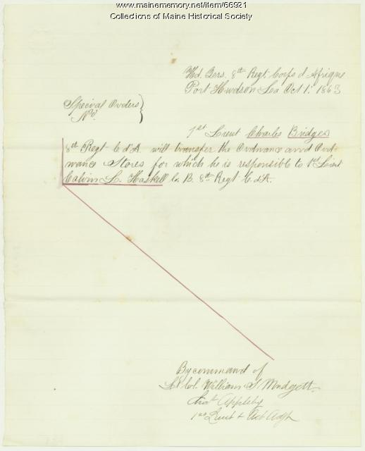 Charles Bridges transfer orders, Port Hudson, LA, 1863