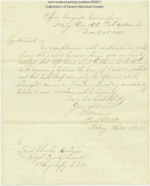 E.G. Manning to Charles Bridges, Port Hudson, LA, 1863