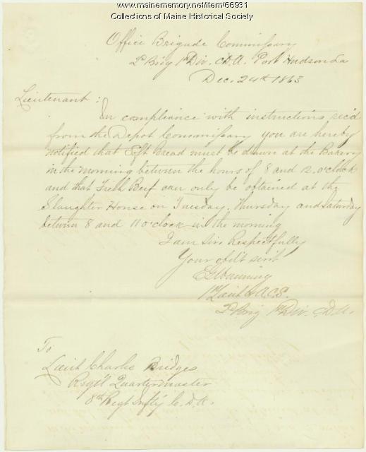 E.G. Manning to Charles Bridges, Port Hudson, LA, 1863