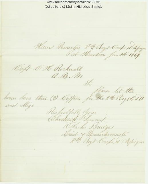 Lt. Charles Bridges request for coffins, Port Hudson, 1864