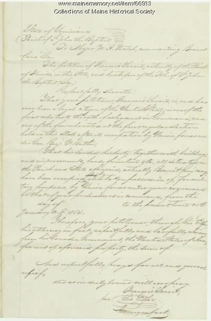 François Savoie petition to Union army, Bonnet Carre, LA, 1864