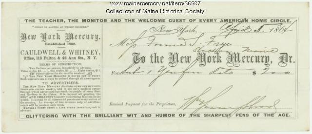 Frances Sarah Frye newspaper subscription, Stockton, 1864