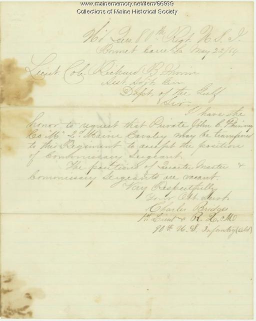 Lt. Charles Bridges to Richard B. Irwin, Bonnet Carre, LA, 1864