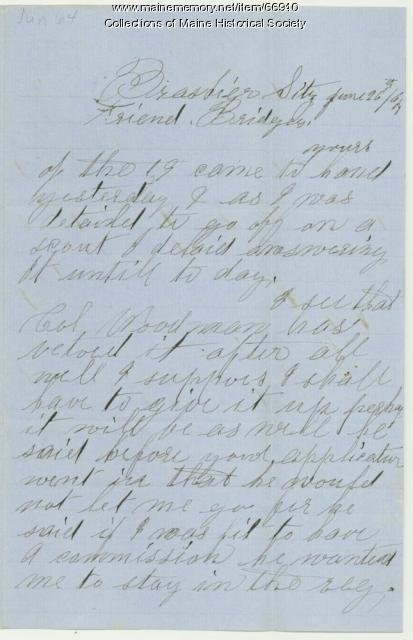 John C. Phinney to Lt. Charles Bridges, Louisiana 1864