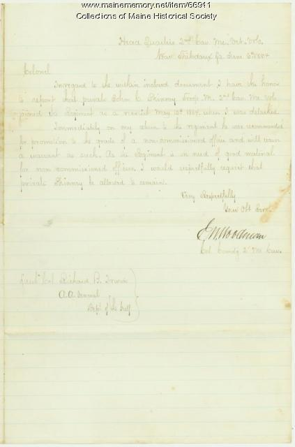 Col. C.W. Woodman letter on transfer, near Thibodaux, LA, 1864