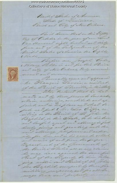François Savoie power of attorney, New Orleans, 1864
