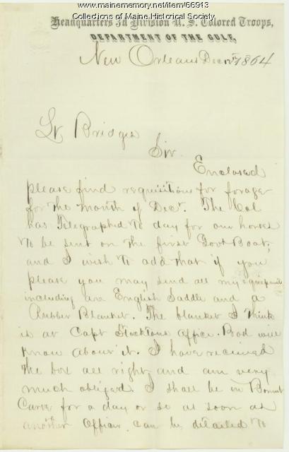Lt. Horace M. Wing to Lt. Charles Bridges, New Orleans, 1864