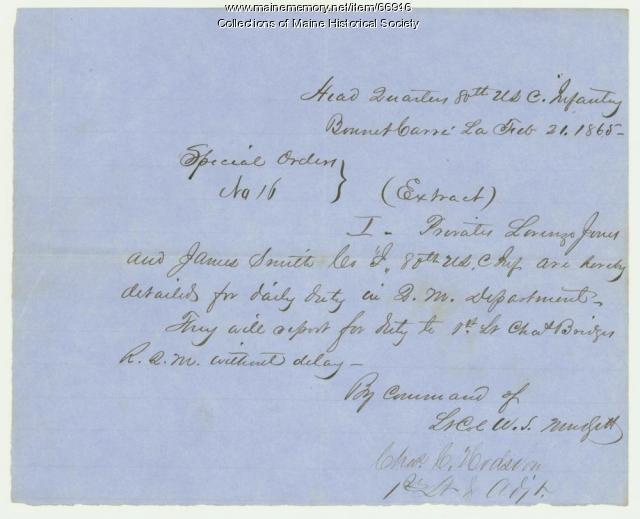 80th Colored Troops orders, Bonnet Carre, LA, 1865