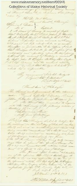 Lt.  Charles Bridges Board of Survey report, New Orleans, 1865
