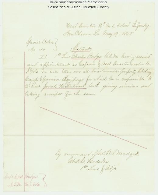 Charles Bridges promotion, New Orleans, 1865