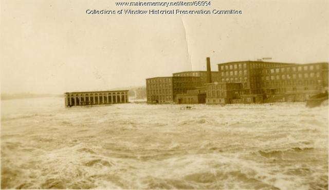 Flood at Lockwood Cotton Mill Complex, Waterville, 1936