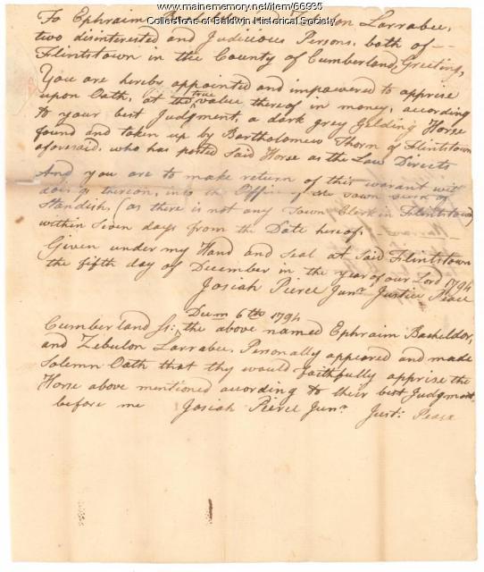 Appraisal of a horse in Baldwin, 1794