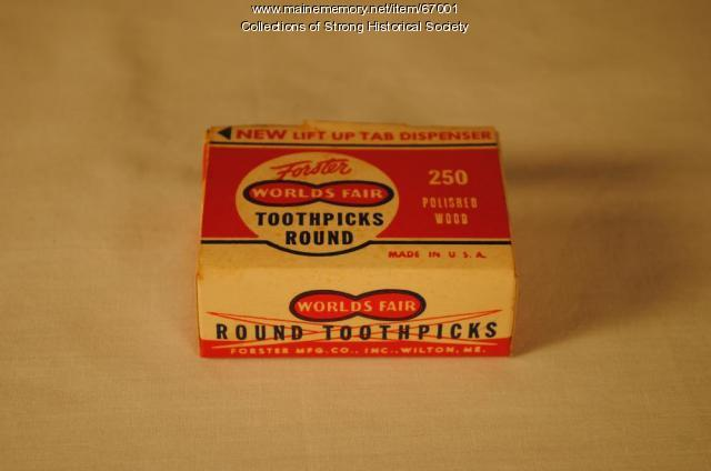 Box of World's Fair Round toothpicks, Strong, ca. 1955