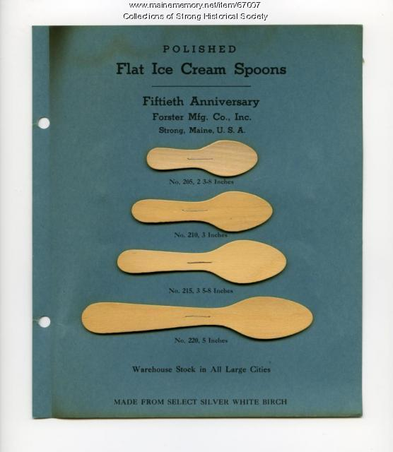 Ice cream spoon samples, Forster Mfg. Co., Strong, 1947