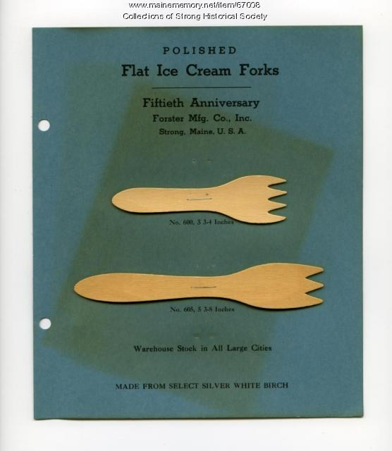 Ice cream fork samples, Forster Mfg, Co., Strong, 1947