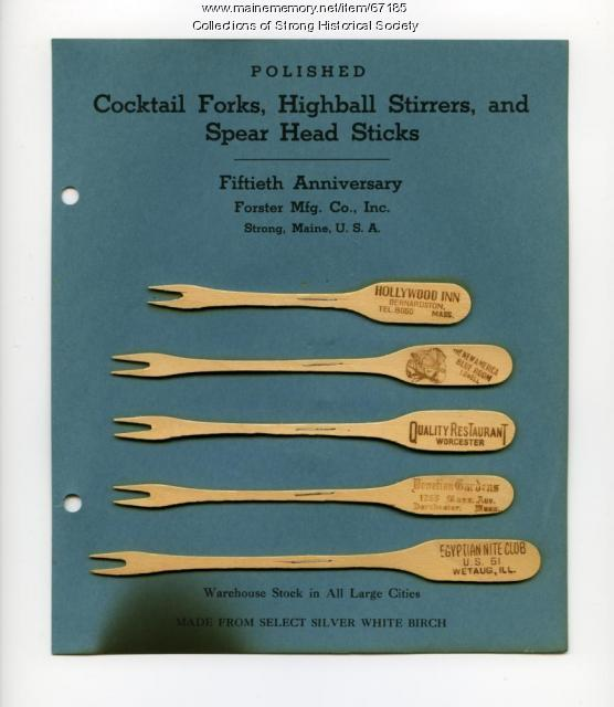 Cocktail fork samples, Forster Mfg. Co., Strong, 1947