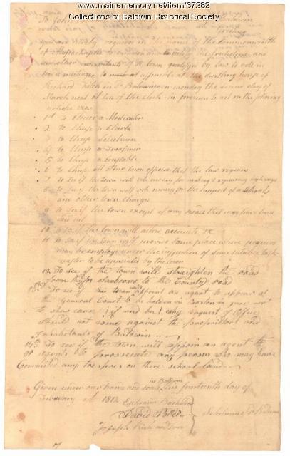 Baldwin Warrant for Febuary 14, 1812