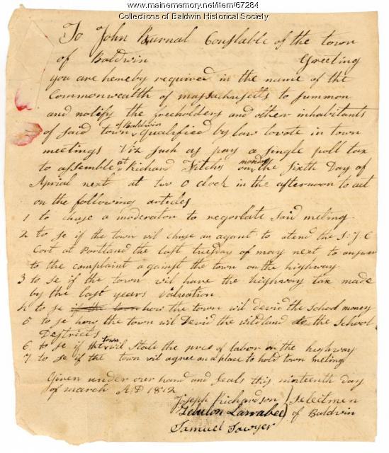 Baldwin Warrant, March 1812