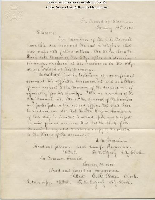 City Council resolve after death of Mayor Jonathan Tuck, Biddeford, 1861