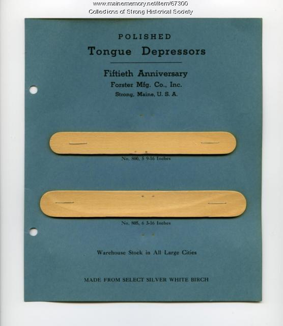 Tongue depressor samples, Forster Mfg. Co., Strong, 1947