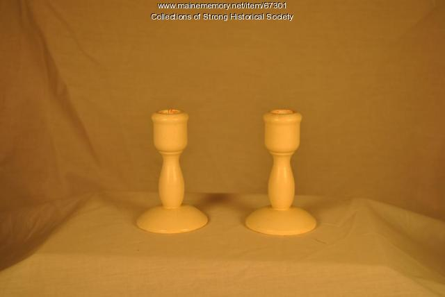 Wooden candle holders, Strong Wood Turning Corp., Strong, ca. 1955