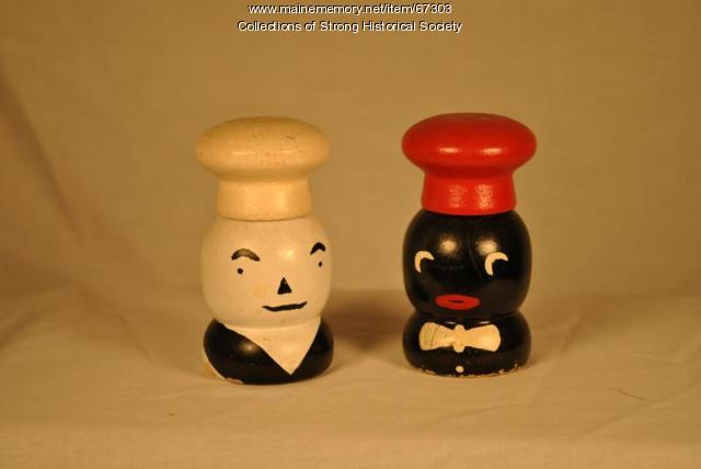 Salt & pepper shakers, Strong Wood Turning Corp., Strong, ca. 1955