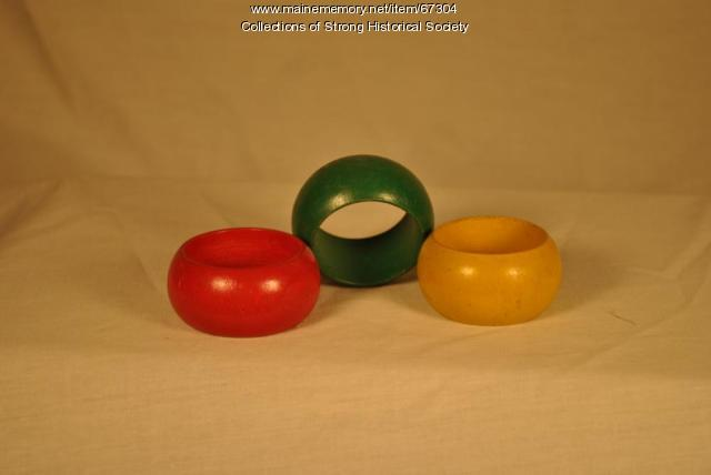 Lacquered Napkin Rings, Strong Wood Turning Corp., Strong, ca. 1955