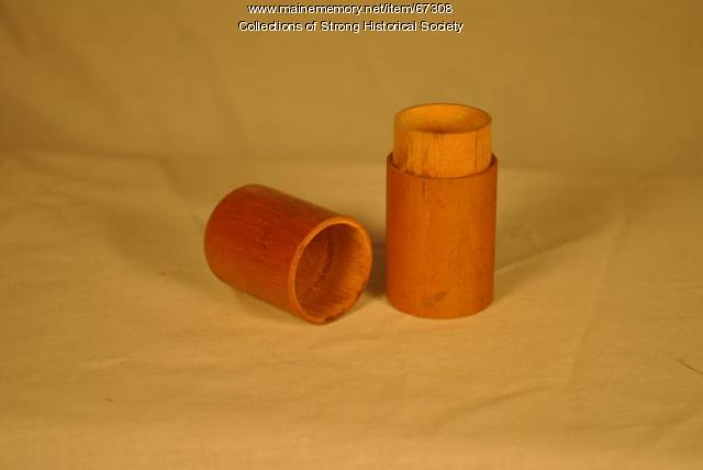 Match/Toothpick canister, Strong Wood Turning Corp., Strong, cr. 1955