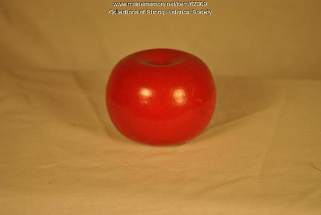 Decorative imitation apple, Strong Wood Turning Corp., Strong, ca. 1955