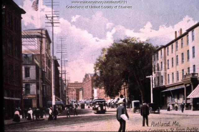 Looking up Congress Street, Portland, ca. 1905