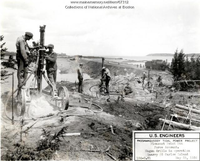 Tidal project dam construction, Carlow Island, 1936