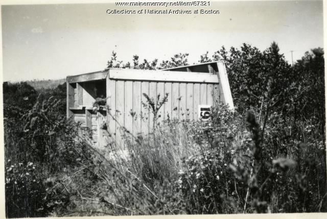 Firefighter school outhouse, Little Chebeague Island, 1947