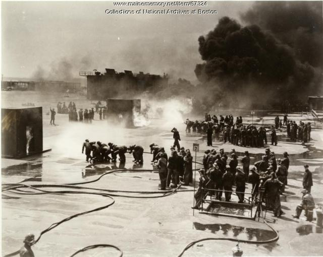 Navy firefighting school, Newport, R.I., ca. 1943