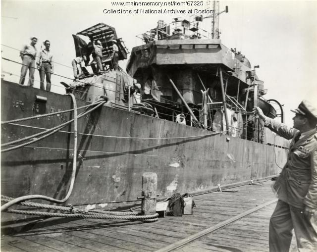 'USS Braine,' Boston Navy Yard, 1945