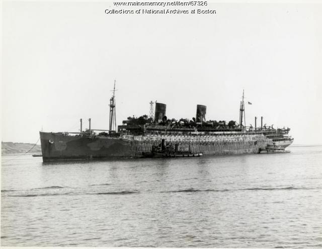 'USS Wakefield' under tow, Boston, 1942
