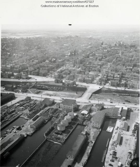 Aerial view of Navy Section Base, Portland, 1942
