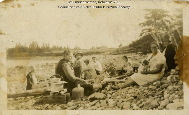 Staples family picnic on the beach, Swans Island, ca. 1927